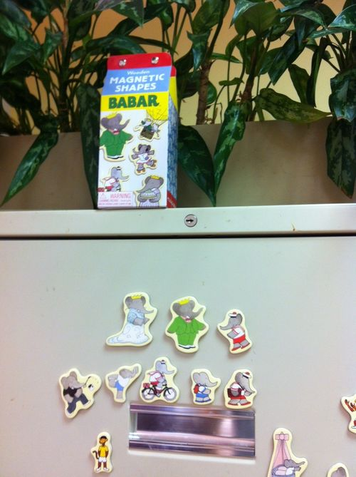 Babar on file cabinet